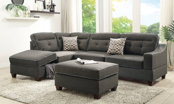 Homeroots Gray Fabric 3pc Sectionals with Ottoman OCN-316428-SEC-VAR