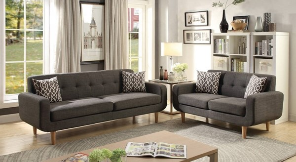 HomeRoots Gray Fabric 2pc Sofa and Loveseat Sets with Accent Pillows OCN-316430-LR-S-VAR