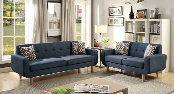 HomeRoots Dark Blue Fabric 2pc Sofa and Loveseat Set with Accent Pillows OCN-316432