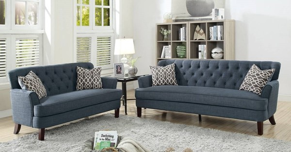 HomeRoots Dark Blue Velvet 2pc Sofa and Loveseat Set with Accent Pillows OCN-316435