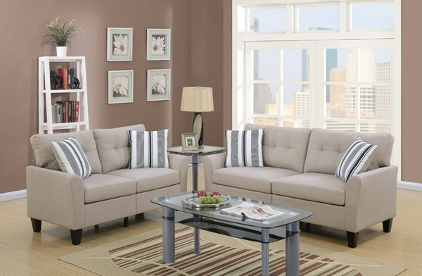 HomeRoots Beige Polyfiber 2pc Sofa and Loveseat Set OCN-316437