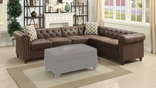 Homeroots Coffee Brown Leatherette 4pc Sectionals OCN-316439-SEC-VAR