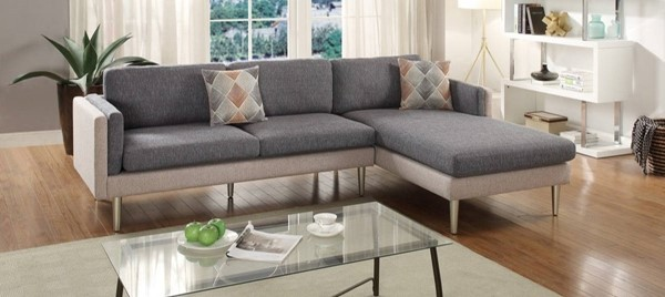 Homeroots Gray Polyfiber 2pc Sectional with Accent Pillows OCN-316441