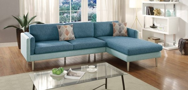 Homeroots Blue Polyfiber 2pc Sectional with Accent Pillows OCN-316442
