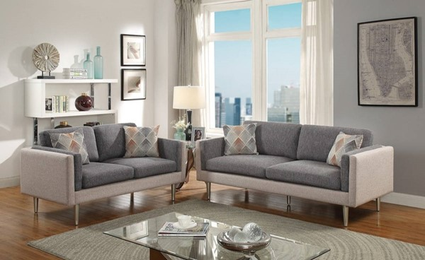 HomeRoots Gray Polyfiber 2pc Sofa and Loveseat Sets with Accent Pillows OCN-316444-LR-S-VAR