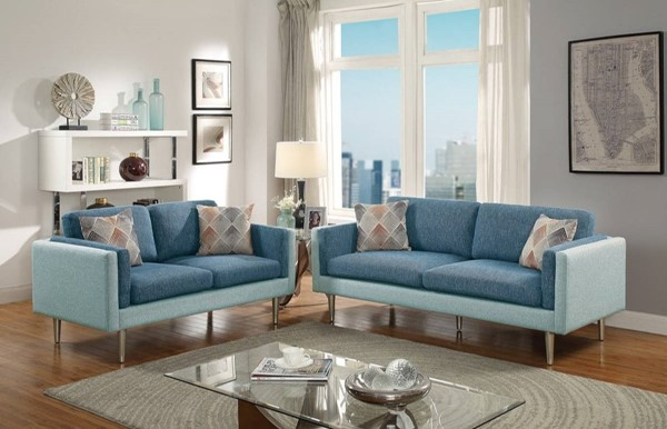 HomeRoots Blue Polyfiber 2pc Sofa and Loveseat Set with Accent Pillows OCN-316445