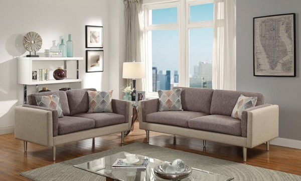 HomeRoots Brown Polyfiber 2pc Sofa and Loveseat Set with Accent Pillows OCN-316446