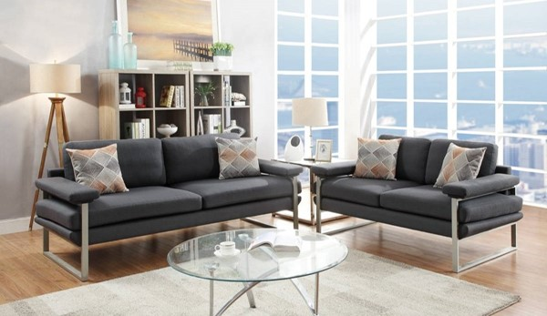 HomeRoots Dark Gray Polyfiber Plywood 2pc Sofa and Loveseat Sets OCN-316447-LR-S-VAR