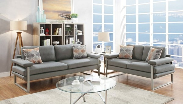 HomeRoots Light Gray Polyfiber Plywood 2pc Sofa and Loveseat Set OCN-316449