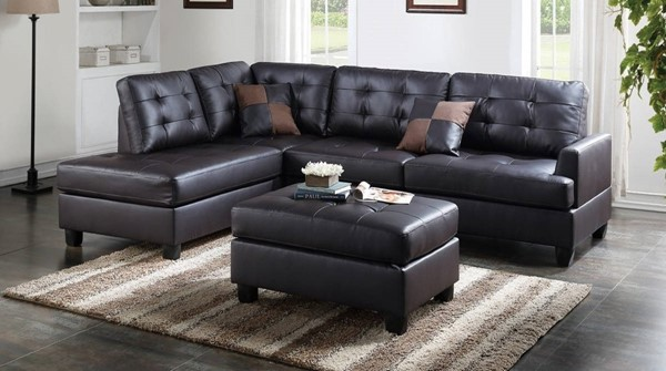 Homeroots Espresso Brown Faux Leather 3pc Sectional with Ottoman OCN-316450