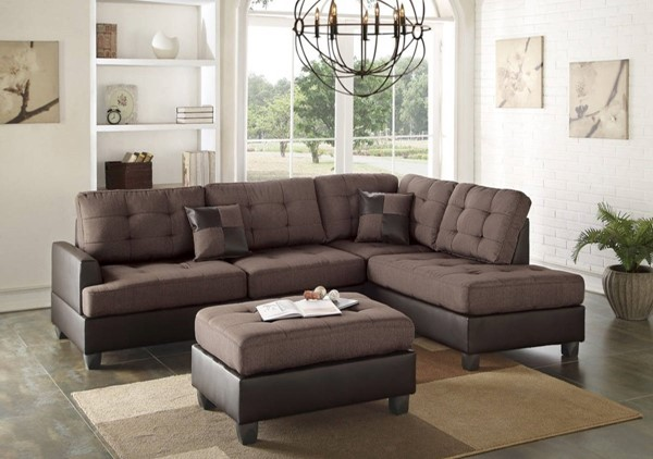 Homeroots Choco Brown Polyfiber 3pc Sectional with Ottoman OCN-316451