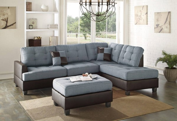 Homeroots Blue Brown Polyfiber 3pc Sectional with Ottoman OCN-316452