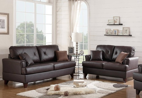HomeRoots Brown Leather 2pc Sofa and Loveseat Set OCN-316456