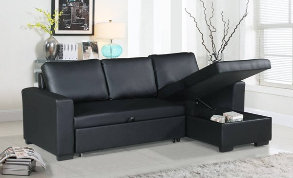 Homeroots Black Faux Leather Convertible Sectional with Storage OCN-316463