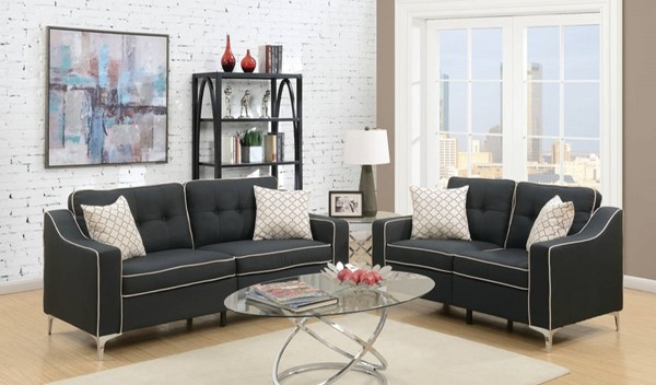 HomeRoots Black Polyfiber Metal 2pc Sofa and Loveseat Sets with White Welt Trim OCN-316464-LR-S-VAR