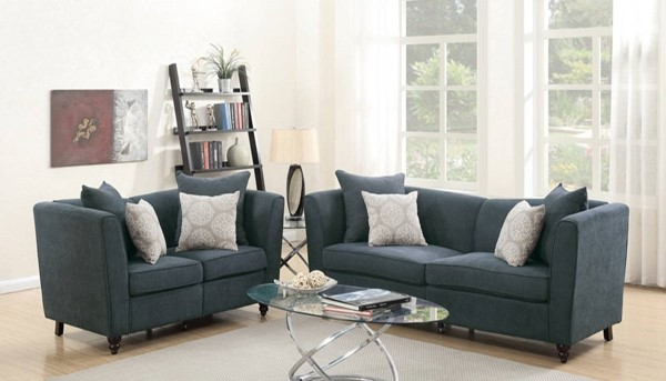 HomeRoots Slate Blue Velvet 2pc Sofa and Loveseat Sets with Accent Pillows OCN-316470-LR-S-VAR