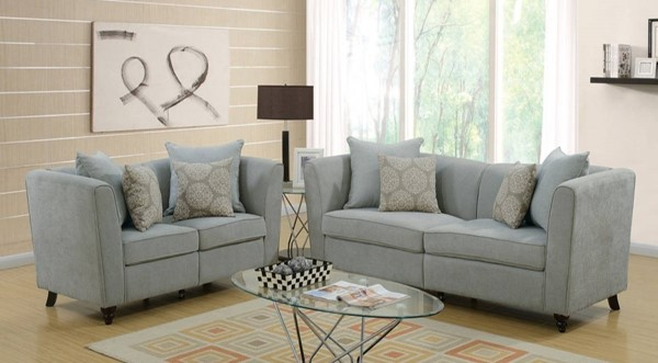 HomeRoots Taupe Gray Velvet 2pc Sofa and Loveseat Set with Accent Pillows OCN-316471
