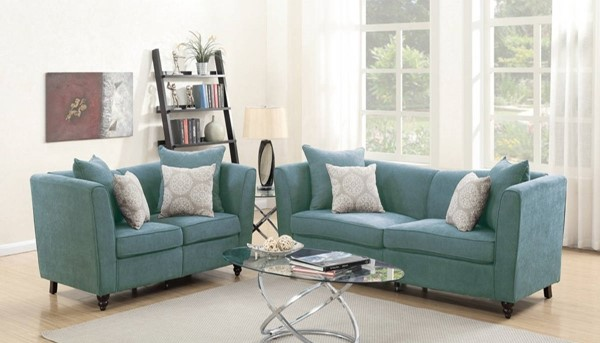 HomeRoots Hydra Blue Velvet 2pc Sofa and Loveseat Set with Accent Pillows OCN-316472