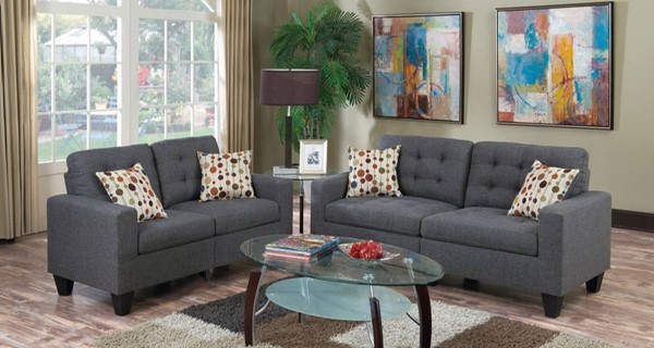 HomeRoots Gray Linen Fabric 2pc Sofa and Loveseat Sets OCN-316473-LR-S-VAR