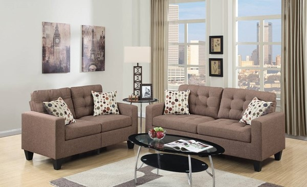 HomeRoots Light Brown Linen Fabric 2pc Sofa and Loveseat Set OCN-316475