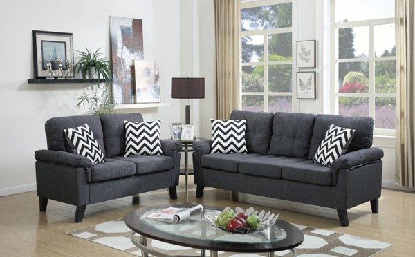 HomeRoots Blue Gray Linen Fabric 2pc Sofa and Loveseat Set OCN-316476