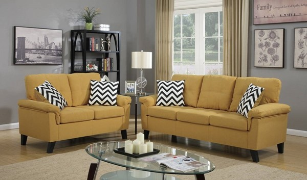 HomeRoots Yellow Linen Fabric 2pc Sofa and Loveseat Set OCN-316477