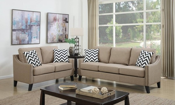 HomeRoots Light Brown Fabric 2pc Sofa and Loveseat Set OCN-316479