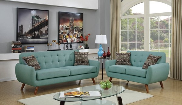 HomeRoots Blue Polyfiber Cushion Seat 2pc Sofa and Loveseat Set OCN-316482