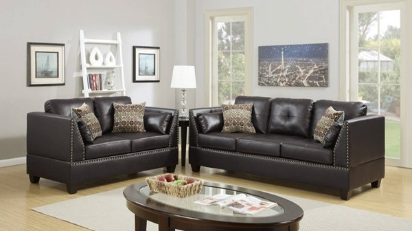 HomeRoots Espresso Brown Bonded Leather 2pc Sofa and Loveseat Set OCN-316483