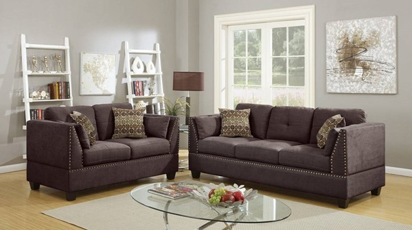 HomeRoots Brown Velvet 2pc Sofa and Loveseat Set with Accent Pillows OCN-316484