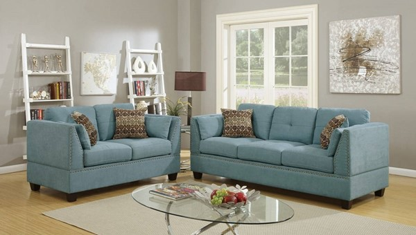 HomeRoots Blue Velvet 2pc Sofa and Loveseat Set with Accent Pillows OCN-316485