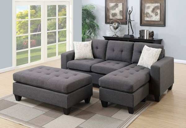Homeroots Gray Fabric Tufted 3pc Sectional with Ottoman OCN-316486
