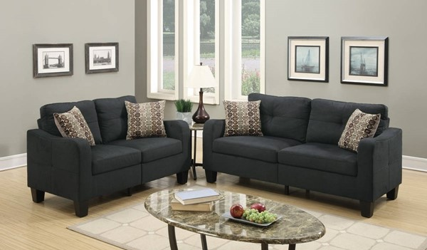HomeRoots Dark Gray 2pc Sofa and Loveseat Set with Accent Pillows OCN-316488
