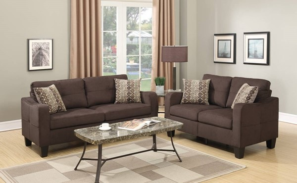 HomeRoots Brown 2pc Sofa and Loveseat Set with Accent Pillows OCN-316489