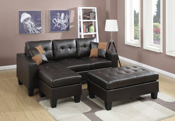 Homeroots Espresso Brown Bonded Sectional with Ottoman OCN-316490