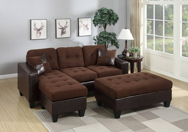 Homeroots Choco Brown Sectional with Ottoman OCN-316491