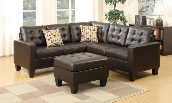 Homeroots Espresso Brown Bonded Leather 4pc Sectional with Ottoman OCN-316492