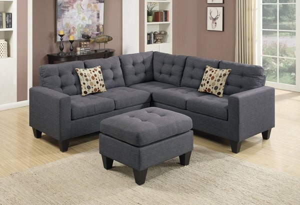 Homeroots Gray Linen Fabric 4pc Sectional with Ottoman OCN-316493
