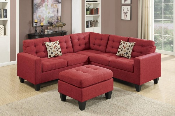 Homeroots Red Linen Fabric 4pc Sectional with Ottoman OCN-316494