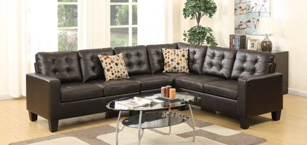 Homeroots Espresso Brown Bonded Leather 4pc Sectional OCN-316496