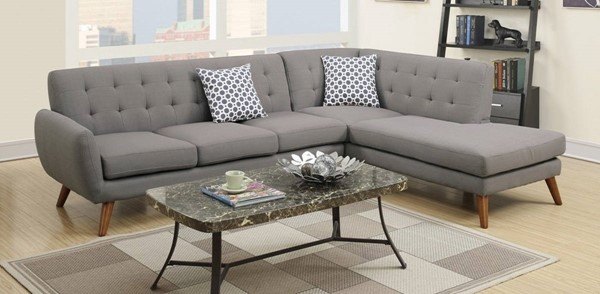 Homeroots Gray Polyfiber 2pc Sectional with 2 Pillows OCN-316500