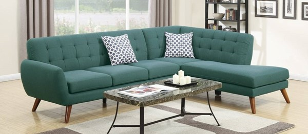 Homeroots Blue Polyfiber 2pc Sectional with 2 Pillows OCN-316502