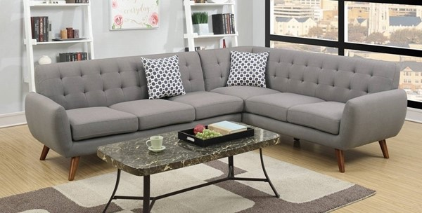Homeroots Gray Polyfiber 2pc Sectional with Tufted Back OCN-316503