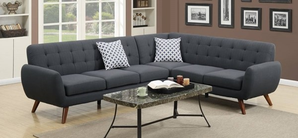 Homeroots Dark Gray Polyfiber 2pc Sectional with Tufted Back OCN-316504