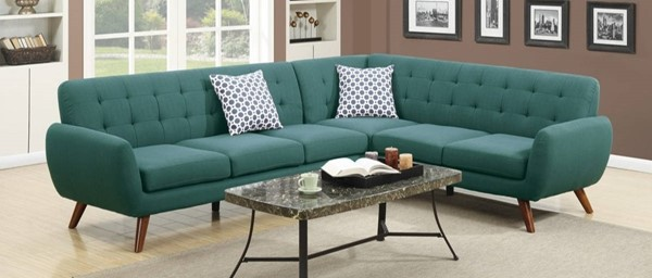 Homeroots Blue Polyfiber 2pc Sectional with Tufted Back OCN-316505
