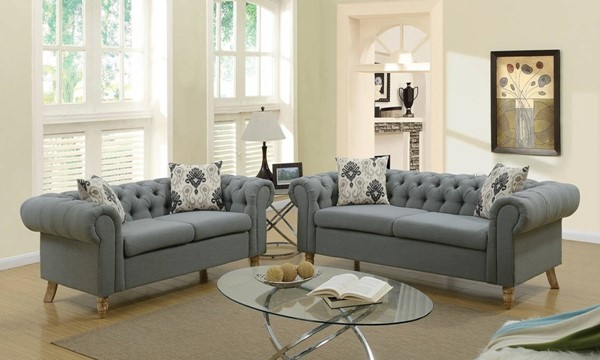 HomeRoots Gray Polyfiber Plush Suede Rolled Arm 2pc Sofa and Loveseat Sets OCN-31650-LR-S-VAR