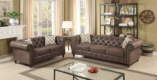 HomeRoots Dark Coffee Brown Leatherette Rolled Arm 2pc Sofa and Loveseat Sets OCN-316508-LR-S-VAR