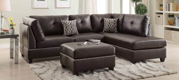 Homeroots Brown Bonded Leather 3pc Sectional with Ottoman OCN-316510