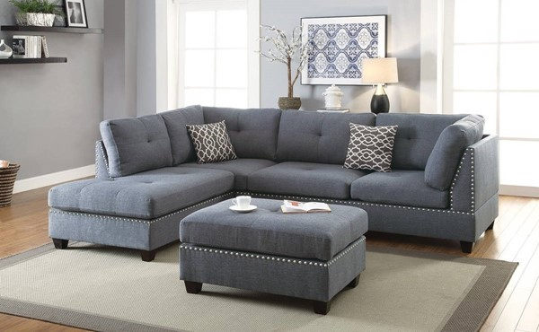 Homeroots Blue Gray Polyfiber 3pc Sectional with Ottoman OCN-316512