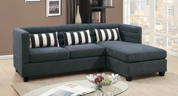 Homeroots Slate Gray 2pc Sectionals with Stripes Pillows OCN-316513-SEC-VAR